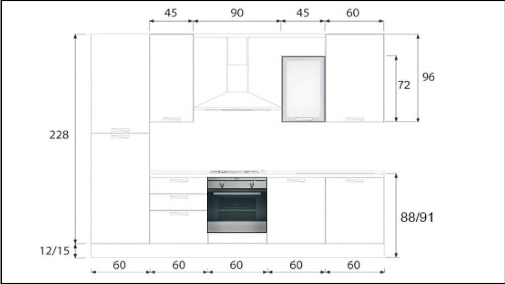 Cucina CREO 3.00 mt- Composizione standard \