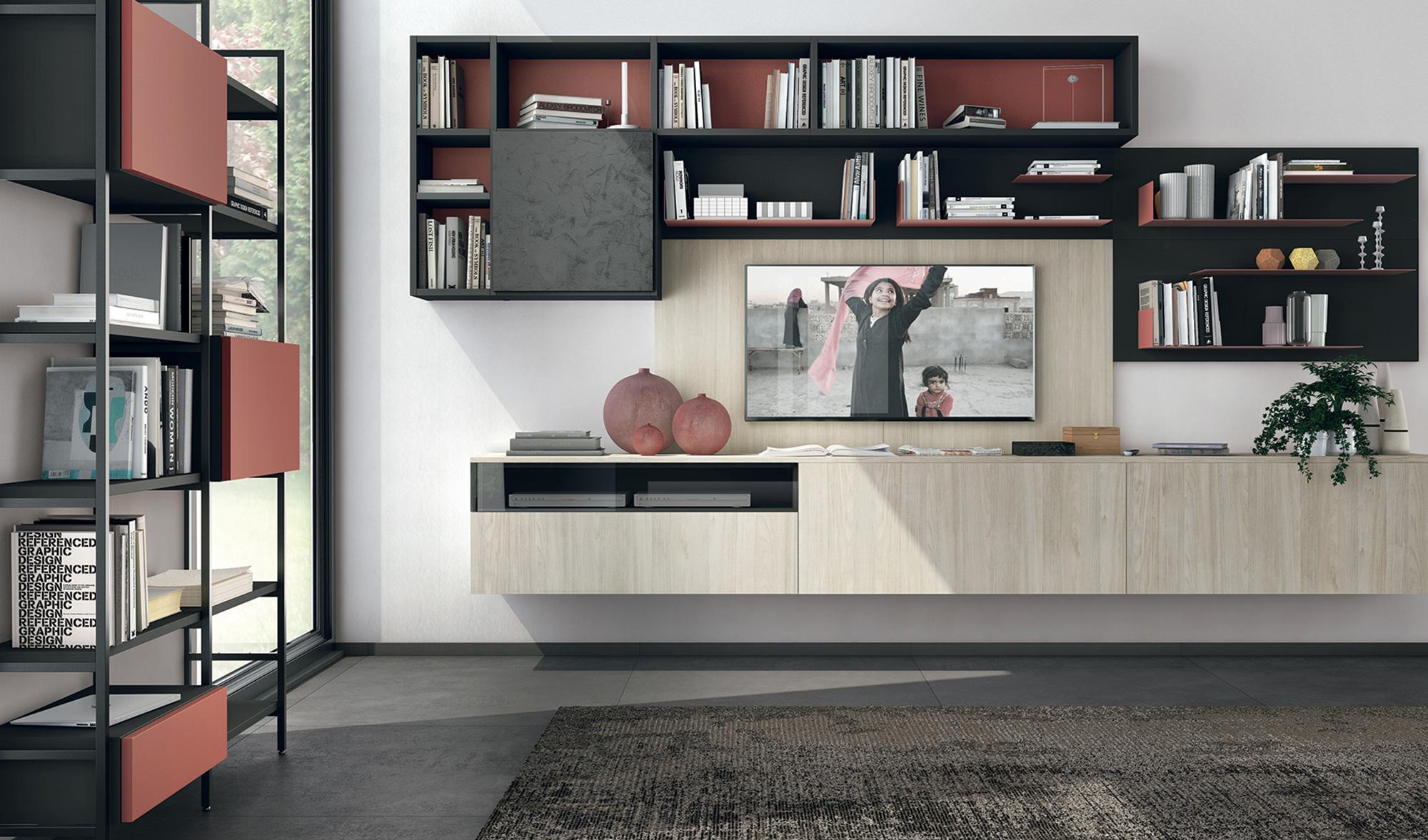 Pareti attrezzate Lube: soluzioni multifunzione per il soggiorno ...